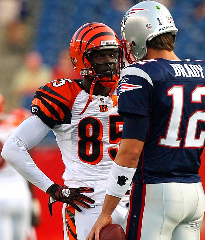"A week after doubling as the Bengals' kicker and booting a game-winning extra point, Ochocinco was fined $5,000 by the NFL for wearing an orange chin strap in a preseason game against the Patriots. Ochocinco later tweeted that he was writing a letter to the league and planned to fine it. ""I'm fined? No, you're fined."""