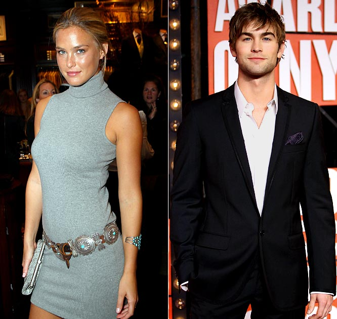 After moving on from Leonardo DiCaprio, the SI Swimsuit model is apparently focusing her attention on the <i>Gossip Girl</i> star. The New York Daily News reported that the couple were all over each other last weekend in New York. With Chace's younger sister, Candice, reportedly dating Tony Romo, that could make for a decent double date sometime down the line.
