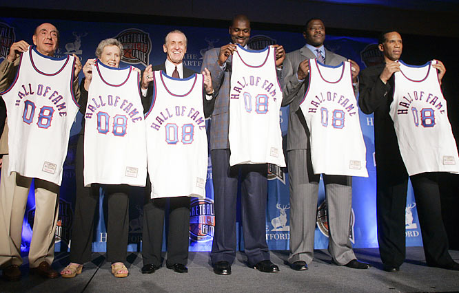 Adrian Dantley, William Davidson, Patrick Ewing,Hakeem Olajuwon, Pat Riley, Cathy Rush, Dick Vitale.   Something for everybody in this group, including the centers who defined the 1980s in college and in the pros. Dantley was a sentimental favorite of Hall followers by the time he got the nod 17 years into retirement. Riley and Vitale couldn't be more different in style or haircuts, yet reached the top of their respective professions. Davidson turned Detroit into ''DEEE-troit! Basss-ketball!'' while Rush was proud just to nudge little Immaculata College onto the first nationally televised women's game.