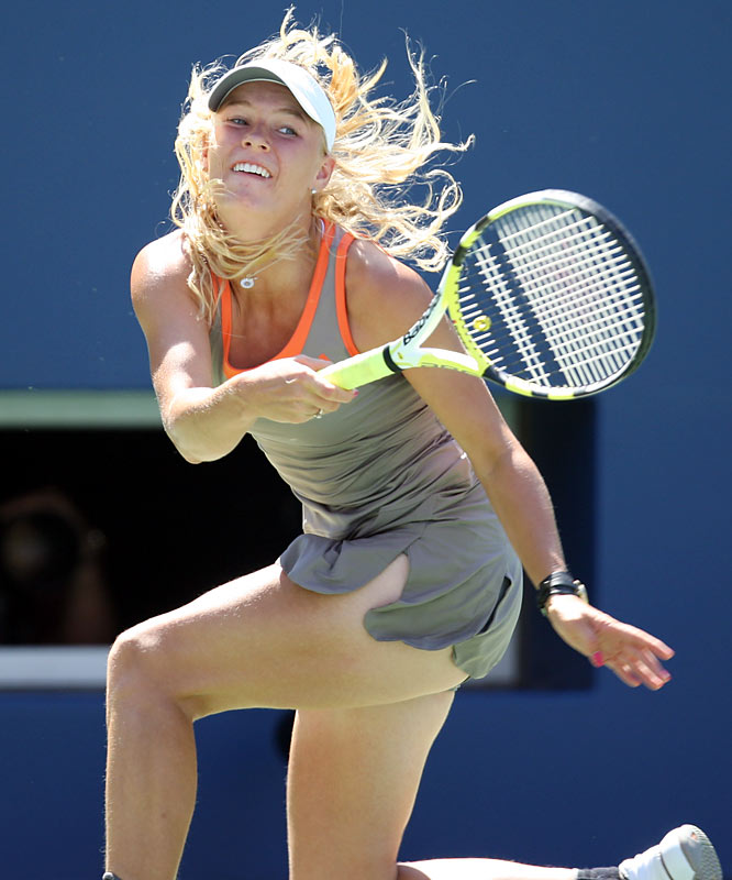 Caroline Wozniacki, who leads the tour in victories this year, reached the final of the U.S. Open. Here's a look at the ninth-seeded Wozniacki in action in New York.
