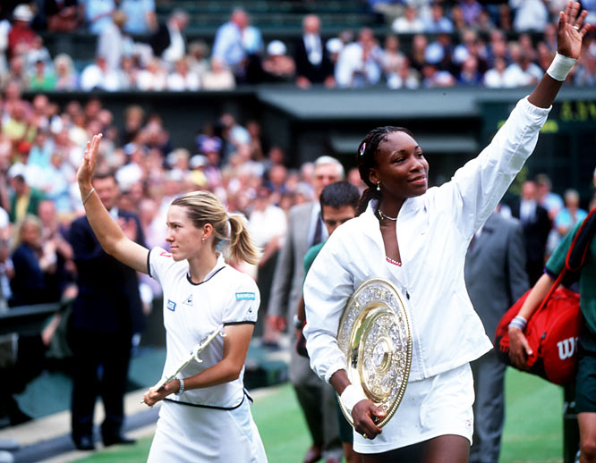 With a powerful forehand and beautiful one-handed backhand, the 5-foot-6 Henin broke through in 2001 with her first Grand Slam final appearance, at Wimbledon. After charging past Jennifer Capriati in the semis, Henin fell to defending champion Venus Williams 6-1, 3-6, 6-0 in the final. (Wimbledon remains the only major she hasn't won.) By year's end, Henin was ranked No. 7.