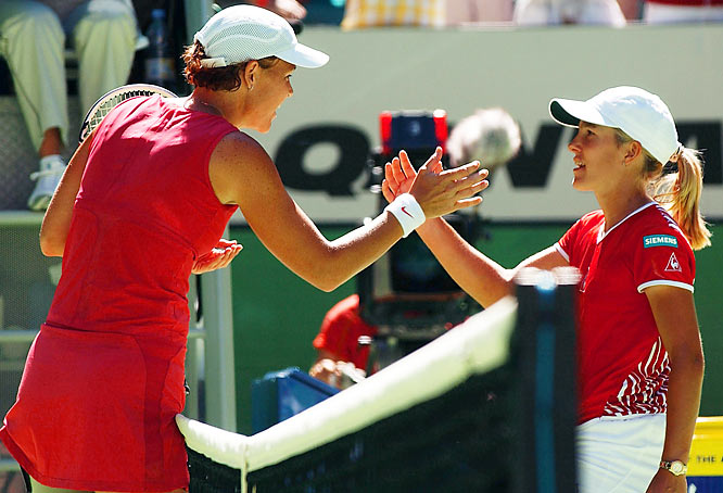 In an epic fourth-round match against Lindsay Davenport at the 2003 Australian Open, Henin rallied from down 4-1 in the third set to win 7--5, 5--7, 9--7 in three hours and 13 minutes.  Henin overcame leg cramps to beat Davenport for the first time in six meetings.