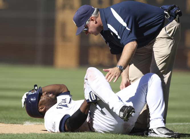 Milton Bradley's tears his ACL when manager Bud Black spins him to the ground to keep him from going after umpire Mike Winters in the eighth inning of a 7-3 loss to the Rockies. The Padres' left fielder will miss the rest of the season due to the injury, and the first base ump will be suspended for the remainder of the season without pay for his actions during the confrontation.