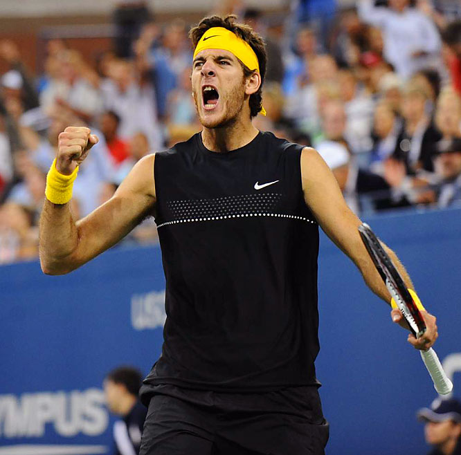 Playing in his first Grand Slam final, the 20-year-old Argentine rallied to beat the five-time defending champion 3-6, 7-6 (5), 4-6, 7-6 (4), 6-2. In snapping Federer's 40-match winning streak at the tournament and denying him a third major this year, del Potro joined Guillermo Vilas (1977) as the only South Americans to win the Open.
