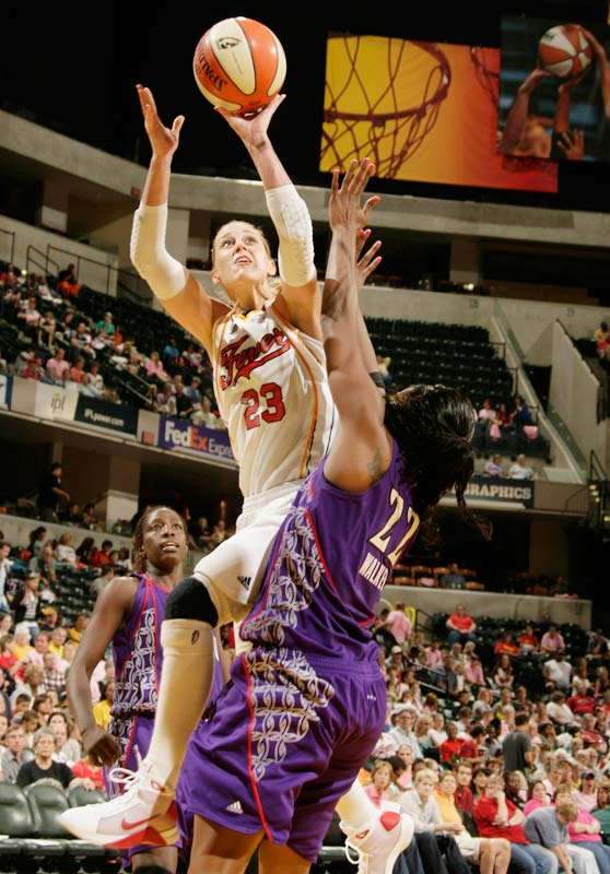"""Postseason harbingers don't come much more ominous than this: after suffering just two defeats in as many months, Katie Douglas (pictured) and the Fever have lost four times in less than four weeks. The most recent came last Saturday against lowly Sacramento in Indianapolis. Indiana led by 14 points in the third quarter and 63-57 heading into the fourth, but ultimately failed in their bid to capture their 14th straight home victory and the East's top overall seed in the playoffs. """"You have to take advantage of every opportunity,"""" said a disappointed Tamika Catchings, who finished with 22 points, six rebounds and four steals against the Monarchs.<br><br>Next three: 9/2 vs. Phoenix; 9/4 at Detroit; 9/6 vs. Washington"""