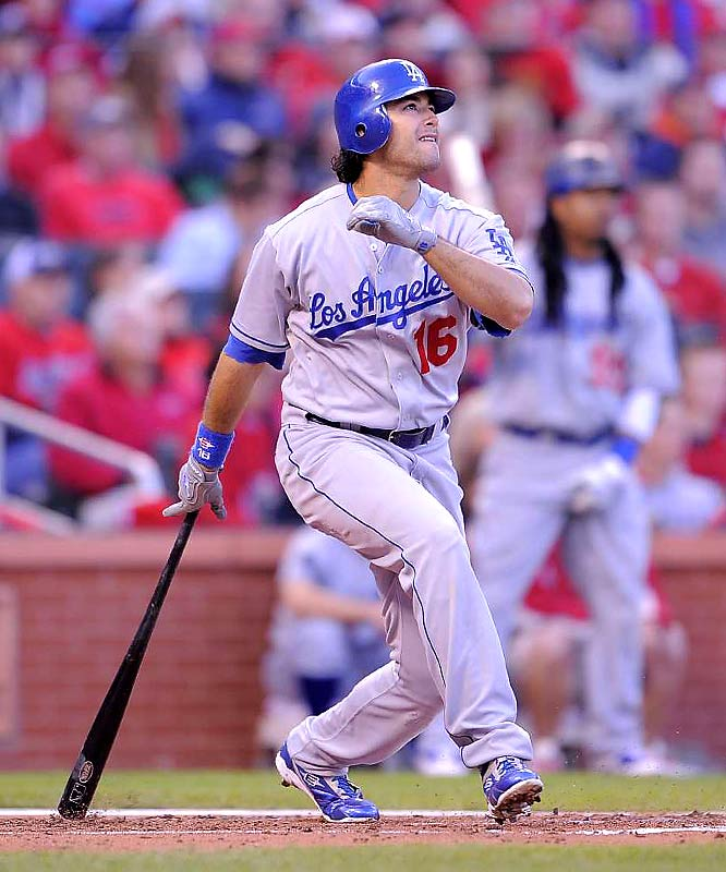 Andre Ethier homers off Joel Piniero in the third inning.