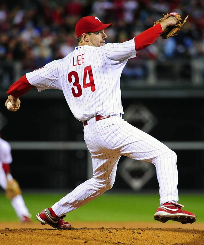 Cliff Lee dominated the Dodgers, striking out 10 over eight scoreless innings.