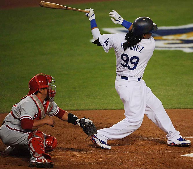 Manny Ramirez goes deep for a two-run homer in the fifth inning.