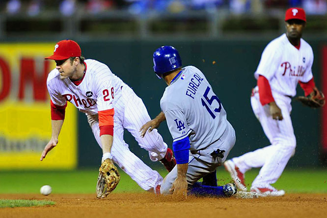 Rafael Furcal beats the throw to Chase Utley at second for the steal.