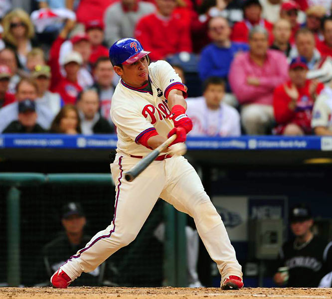 Carlos Ruiz's fifth-inning RBI single gave the Phillies a 2-0 lead.