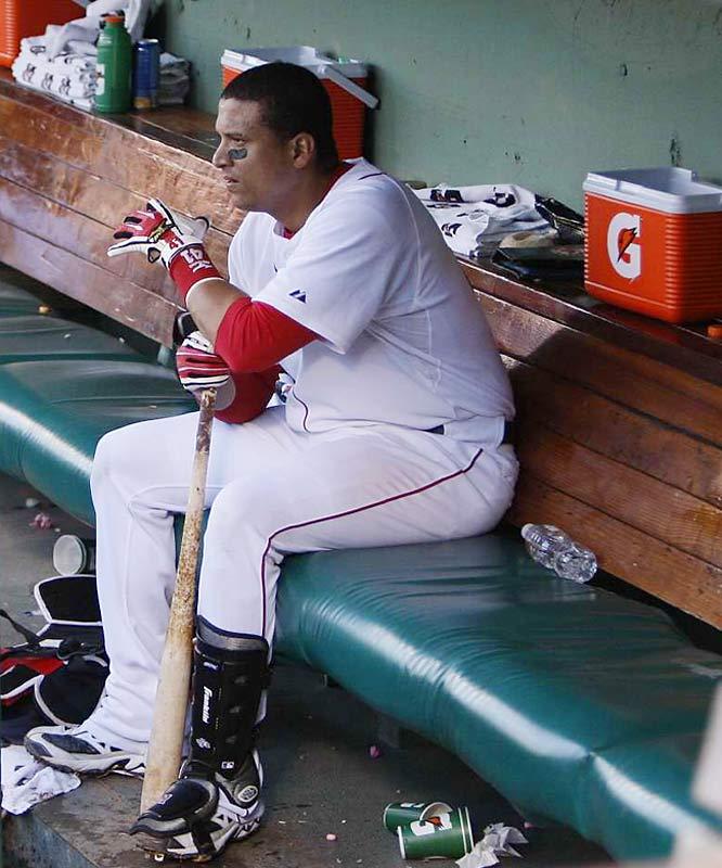 Catcher Victor Martinez in the dugout following Boston's loss.