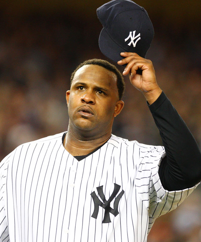 CC Sabathia acknowledges the crowd after being pulled in the seventh inning.