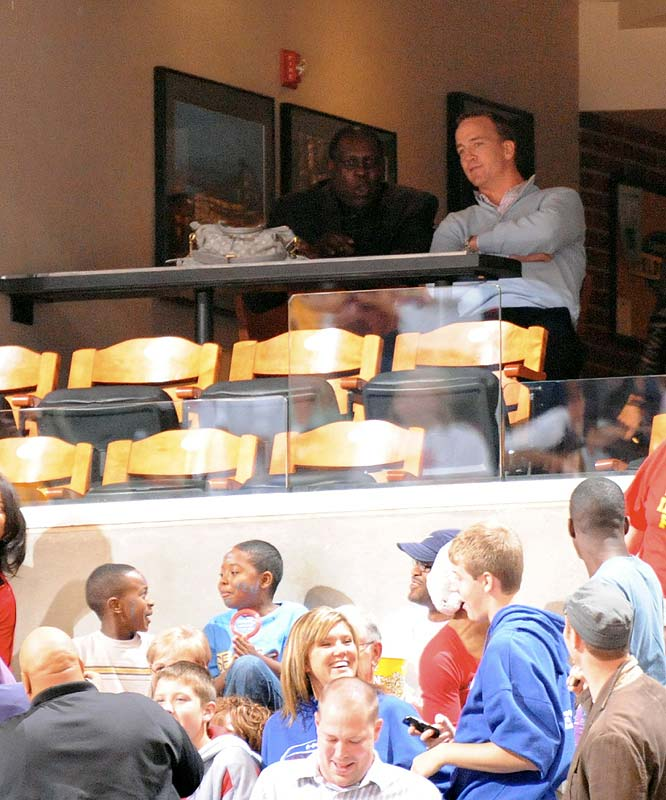 Among the celebrities who came out to Indiana to support the squad: Peyton Manning. The Conseco Center was sold out for Game 3 and 4 of the Finals.