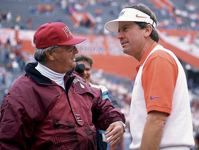 Bobby Bowden and Steve Spurrier exchange pleasantries before a Seminoles-Gators game.