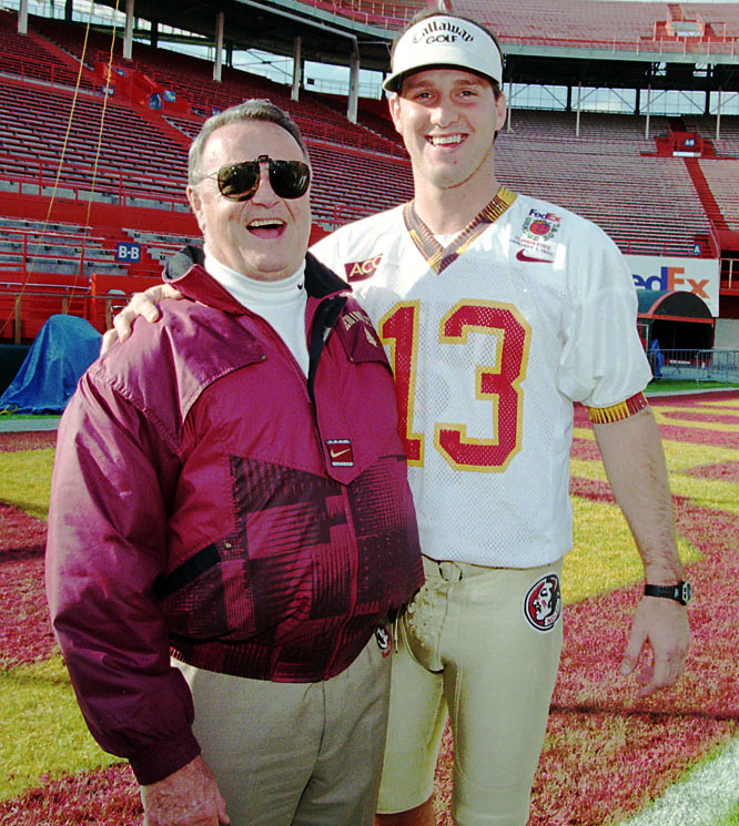 Bobby Bowden poses with quarterback Danny Kanell during Media Day.