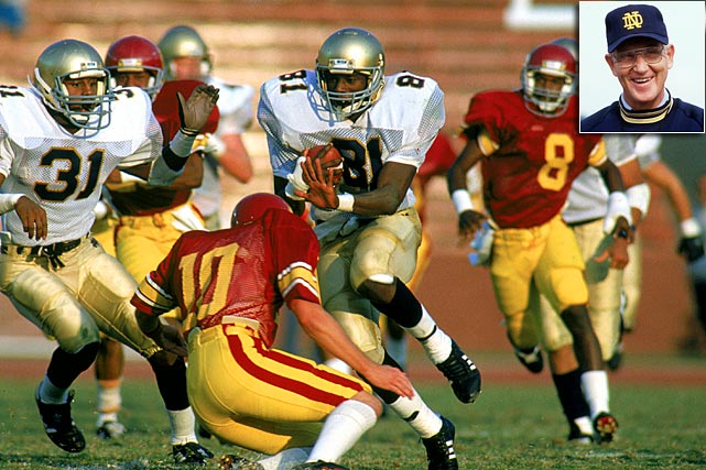 Although the No. 1 vs. No. 2 matchup two years later would be more significant, this game, in Lou Holtz's inaugural year with the Irish, re-established ND's gridiron credibility. Irish rebound from a 37-20 fourth quarter deficit and are saved by a 56-yard punt return by Tim Brown to the Trojan 16 in the final minute. CBS misses John Carney's game-winning field goal as time expired because the network was showing a commercial.