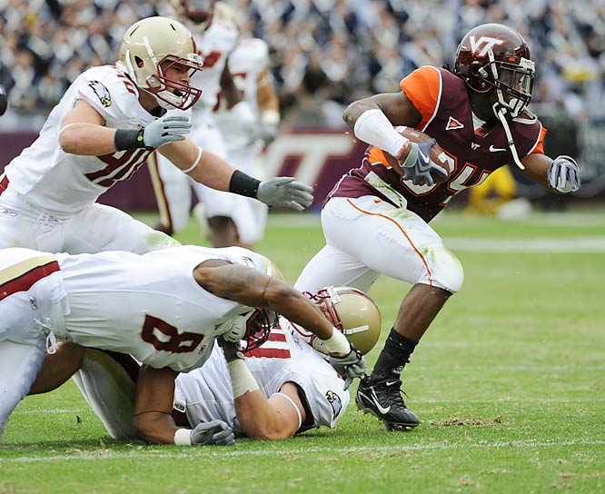 The Hokies ended a three-game losing streak to Boston College as Ryan Williams (pictured) ran for 159 yards and a touchdown while Tyrod Taylor threw a pair of TD passes.