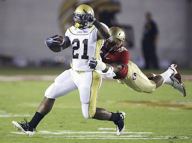 Jonathan Dwyer (pictured) scored twice for the 5-1 Yellow Jackets and Josh Nesbitt had three touchdowns, keeping the heat on losing Florida State coach Bobby Bowden.