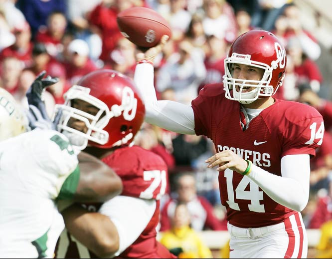 In his first game back since spraining the AC joint in his right, throwing shoulder, Heisman Trophy winner Sam Bradford completed 26 of 49 passes for 389 yards and one touchdown. The Sooners play their annual grudge match against Texas this weekend.