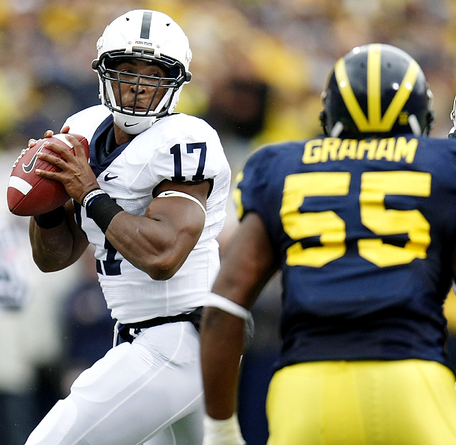 Penn State's Daryll Clark (left) threw three of his four touchdown passes to Graham Zug, helping the 7-1 Nittany Lions to their first victory at the Big House since 1996. Michigan (5-3) was limited to 140 passing yards.