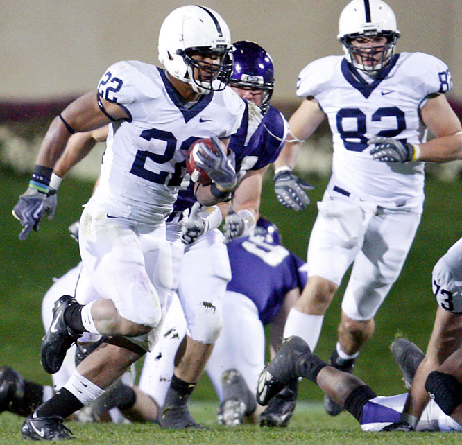 Penn State shut out Northwestern in the second half and the Nittany Lions scored three fourth-quarter touchdowns in less than four minutes to pull away. Evan Royster (left) broke off a 69-yard scoring run to highlight the fourth-quarter surge.