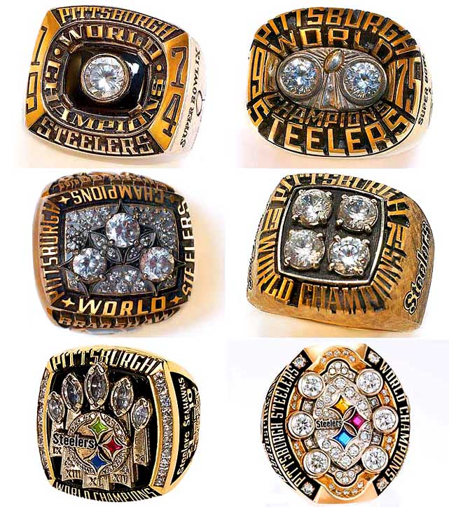 <i>Top row, from left:</i><br>1974 team, Super Bowl IX (Steelers 16, Vikings 6)<br>1975 team, Super Bowl X (Steelers 21, Cowboys 17)<br><i>Middle row, from left:</i><br>1978 team, Super Bowl XIII (Steelers 35, Cowboys 31)<br>1979 team, Super Bowl XIV (Steelers 31, Rams 19)<br><i>Bottom row, from left:</i><br>2005 team, Super Bowl XL (Steelers 21, Seahawks 10)<br>2008 team, Super Bowl XLIII (Steelers 27, Cardinals 23)