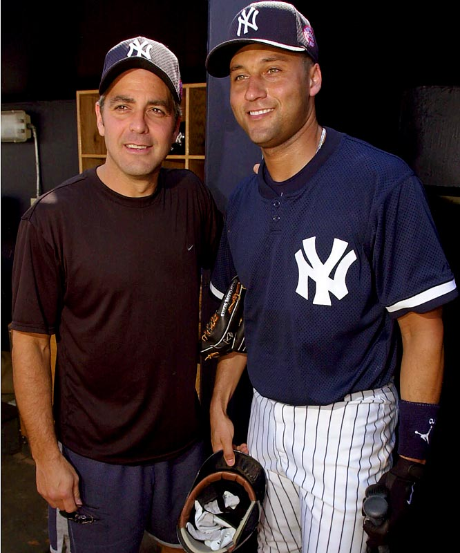 George Clooney poses with the Yankee shortstop during 2001 spring training at Legends Field in Tampa.