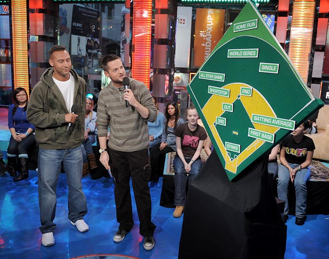 "Jeter talks with MTV VJ Damien Fahey during a 2008 appearance on MTV's ""Total Request Live."""
