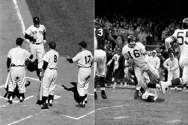 The `50s were a golden age for sports in New York, with the Yankees, Giants or Brooklyn Dodgers winning the World Series every year except 1957 (the Yankees lost) and `59. In 1956, Mickey Mantle won the Triple Crown and his Yankees took a seven-game series rematch over Jackie Robinson's Dodgers with Don Larsen throwing a perfect game in Game 5. On the gridiron, the football Giants of Frank Gifford and Sam Huff cap beat the Chicago Bears 47-7 for the NFL title.