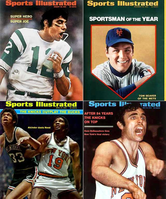 In January, Jets quarterback Joe Namath guaranteed a stunning Super Bowl III upset over the heavily favored Baltimore Colts, and delivered. In October, the Miracle Mets of Tom Seaver completed their first winning season by upsetting the Baltimore Orioles in the World Series. The following May, injured captain Willis Reed of the Knicks limped onto the court at Madison Square before Game 7 of the NBA Finals, inspiring his team to a championship win over Wilt Chamberlain's Los Angeles Lakers.