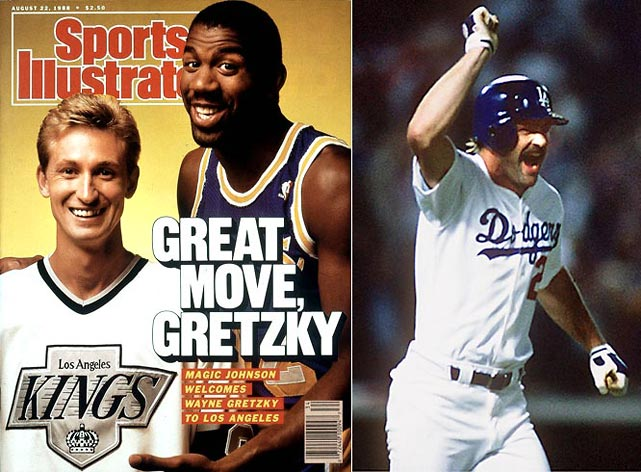 "Magic Johnson's Showtime Lakers won their third NBA since 1985 by beating Detroit in the finals. The following August, hockey's greatest player, Wayne Gretzky, was traded to the Kings. In October, Kirk Gibson's dramatic pinch-hit, walk-off home run off Dennis Eckersley in Game 1 sparked the Dodgers to a World Series win over the A's. ""The impossible has happened!"" was legendary broadcaster Vin Scully's call."