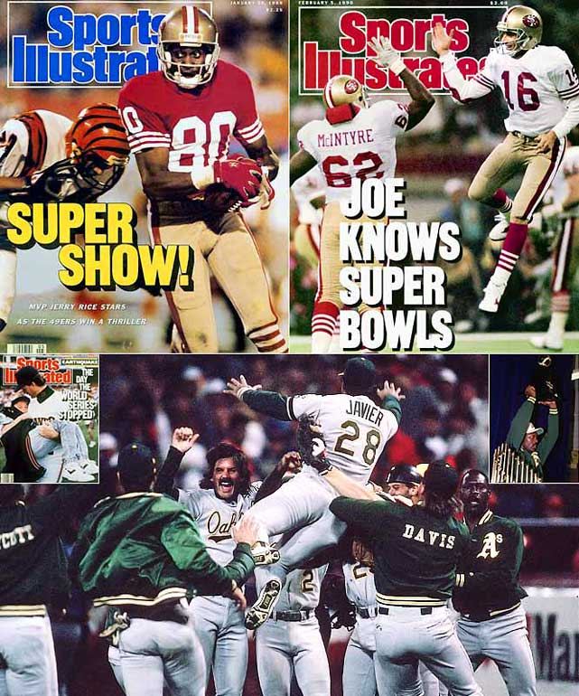 Joe Montana led the 49ers to their third Super Bowl win with a riveting 92-yard drive in the final minutes against Cincinnati. In October, the San Francisco Giants and Oakland A's met in the Bay Bridge Series, swept by the A's and unfortunately interrupted by an earthquake. On a more positive note, it was the second of three consecutive World Series appearances for Oakland, a feat the franchise had previously produced in 1972-74 thanks to the Swingin' A's of Reggie Jackson, Rollie Fingers and Sal Bando. In January 1990, Montana shredded the Denver Broncos, 55-10, in Super Bowl XXIV.