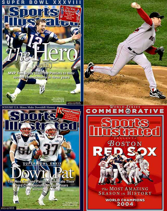 "The Patriots began 2004 with QB Tom Brady earning MVP honors in their second Super Bowl victory since 2002: a 32-29 thriller against Carolina. In October, the Red Sox magically reversed their 86-year curse by becoming the first MLB team to come back from a three-games-to-none deficit and win a seven-game series, upending the hated Yankees in the ALCS as Curt Schilling produced his legendary ""bloody sock"" game. The Sox went on to sweep St. Louis in the World Series. The following February, the Patriots repeated as champs by beating the Philadelphia Eagles in the Super Bowl."