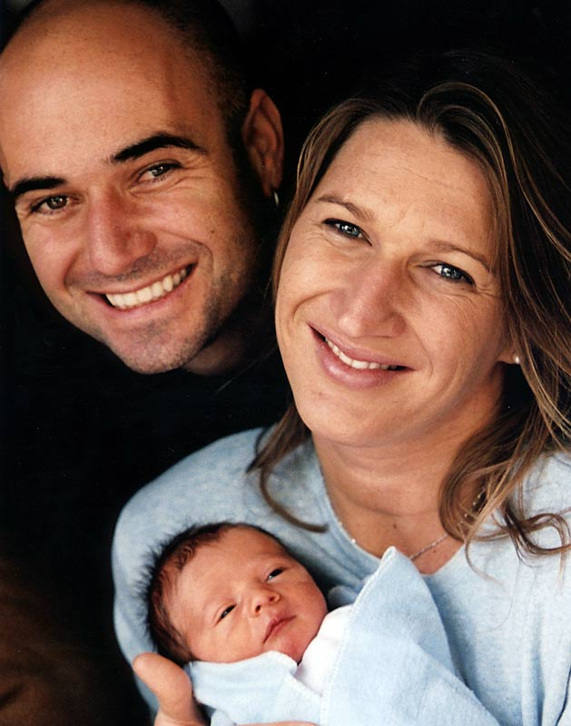 Steffi Graf and Andre Agassi pose with son Jaden Gil in Las Vegas.