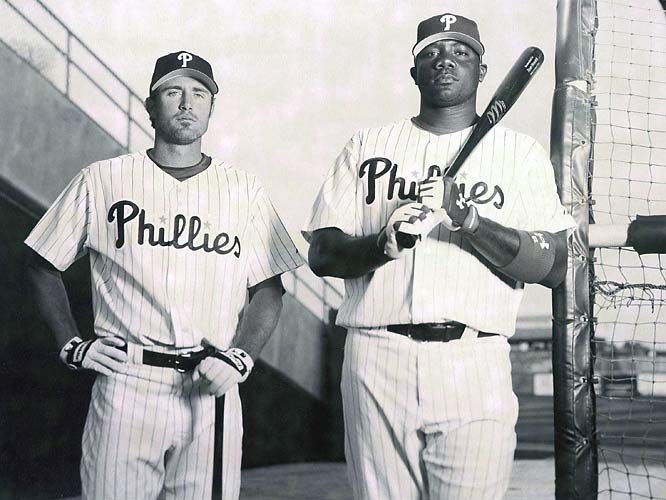 Chase Utley and Ryan Howard pose during a retro photo shoot for the 2007 SI preview.