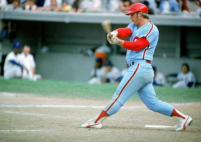 Greg Luzinski takes a swing during a game against the Mets.