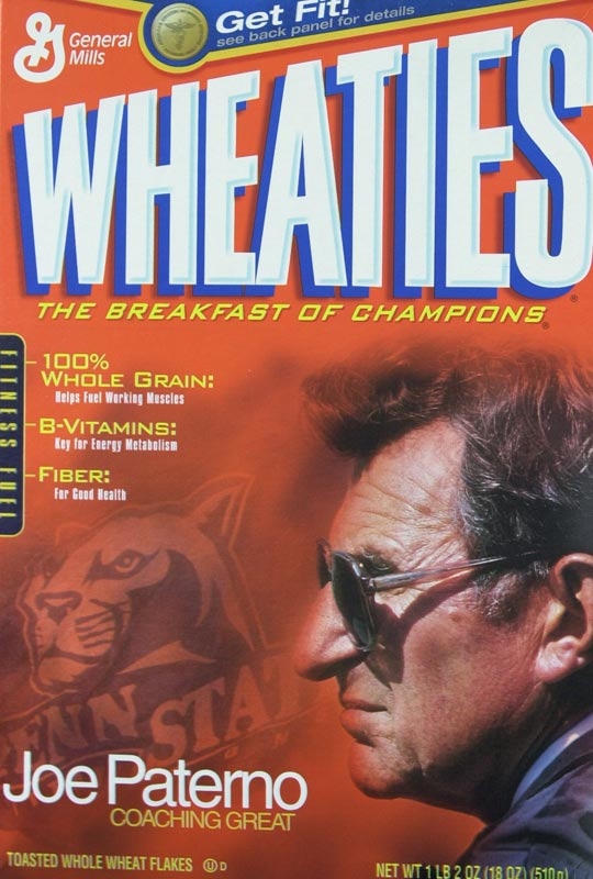 Paterno appeared on the Wheaties box in 2003.