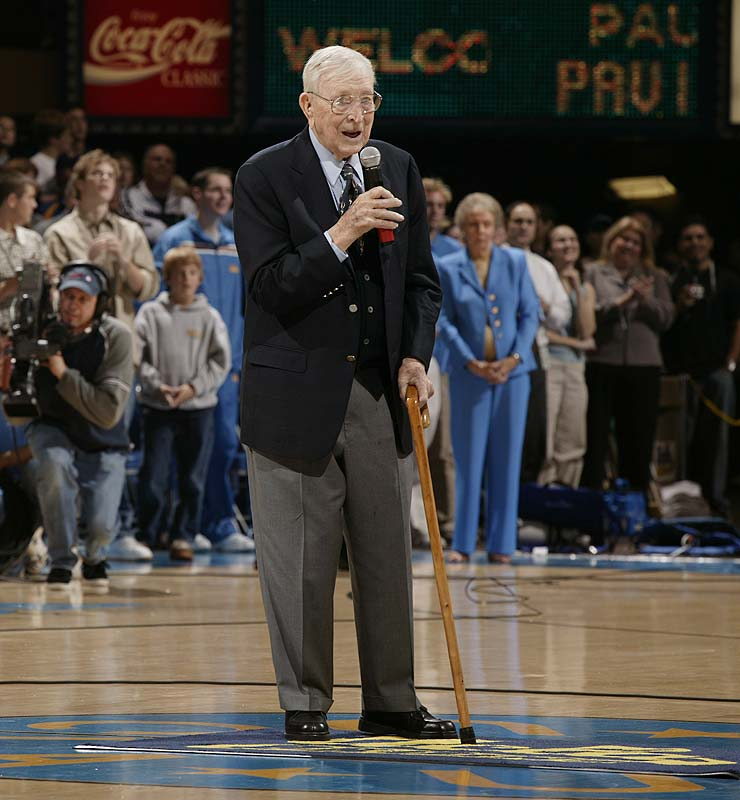 Pauley Pavilion's court was named the Nell & John Wooden Court in 2003.  Nell, a sideline fixture at UCLA and John's wife for 53 years, died in 1985.
