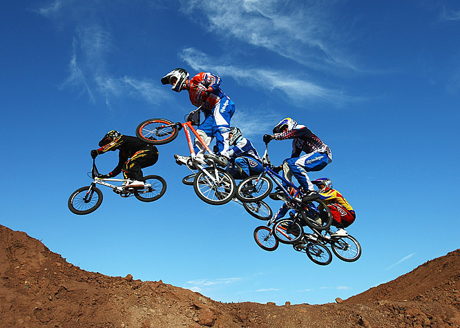 Ivo van der Putten of Holland (second from left) leads the way during the UCI BMX Supercross World Cup at Roc d'Azur Frejus in Frejus, France.