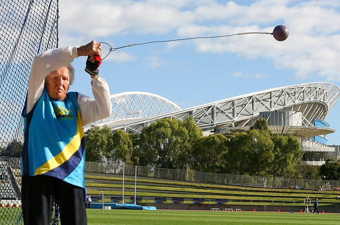 Ruth Frith, who's 100, competes in the hammer throw during the Sydney 2009 World Masters Games.