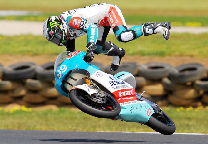 Danny Webb of Great Britain is thrown from his Aprilia during qualifying in the 125cc class for the Australian Motorcycle Grand Prix at Phillip Island. Webb was 21st fastest in qualifying for the Australian Grand Prix.