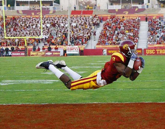 University of Southern California wide receiver Ronald Johnson makes a diving catch for a touchdown against Oregon State during the first half of their game at Memorial Coliseum Oct. 24, in Los Angeles. USC defeated Oregon State 42-36.