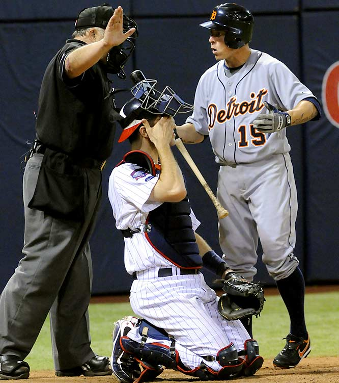 In the 12th inning of the Tigers-Twins one-game playoff for the AL Central title, Detroit's Brandon Inge was grazed on the uniform by a pitch with the bases loaded, which would have forced in a run. But the umpire missed the call, Inge grounded into a fielder's choice and the Twins went on to win in the bottom of the inning.