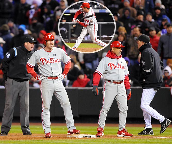 In Game 3 of the NL Division Series, Philly's Chase Utley checked his swing and the ball hit him inside the batter's box, which should have been ruled a foul ball at that point. But the home plate umpire ruled the ball fair, allowing Jimmy Rollins to advance to third base. Compounding the error, Utley was incorrectly ruled safe at first base. Rollins would score the game-winning run against the Rockies on Ryan Howard's sac fly.