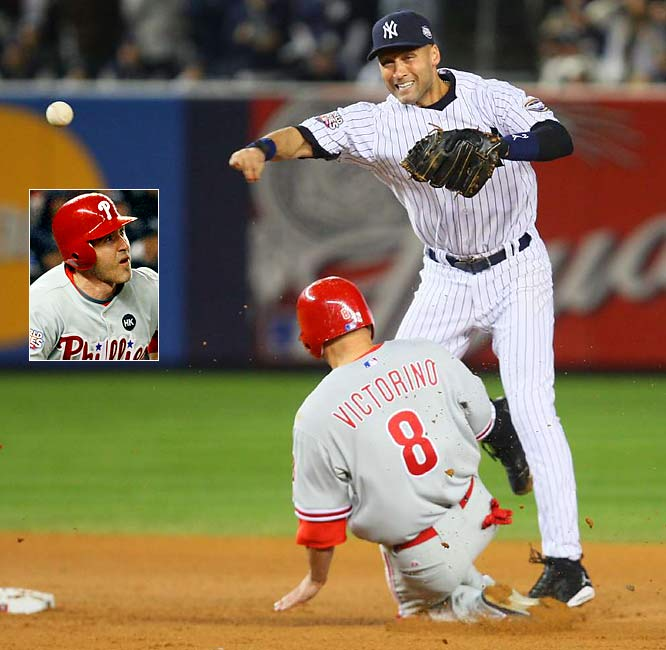With men on first and second and Philly trailing 3-1 in the eighth inning of Game 2 of the World Series, Chase Utley (inset) grounded into a double play turned by Derek Jeter. Replays showed Utley beating Jeter's throw to first base.