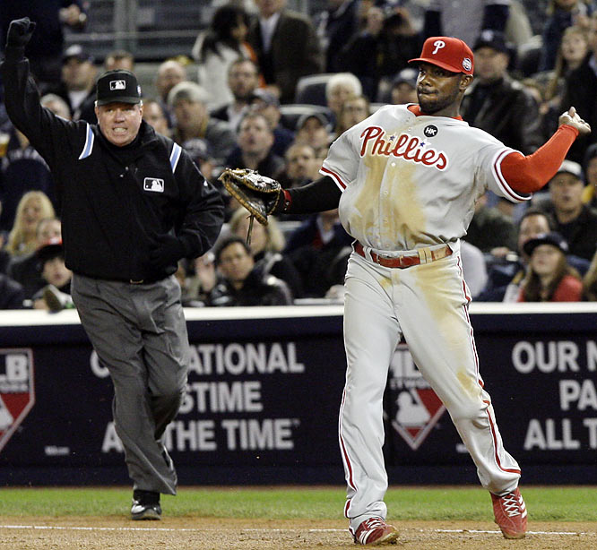 With the Yankees looking to break the game open in the bottom of the seventh, Johnny Damon's line drive was caught by Phillies first baseman Ryan Howard, who threw to second to double up Jorge Posada. Replays showed the liner may have been short-hopped, however, and the question remains of why Howard threw to second if he had indeed caught the ball.