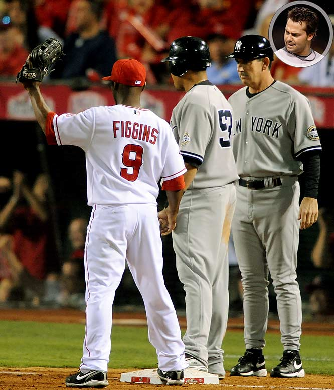 New York's Nick Swisher (inset) appeared to tag up cleanly on a fly ball to center field in the fourth inning of Game 4 of the ALCS, but the Angels appealed the play at third base and umpire Tim McClelland ruled that Swisher had left early. Instead of a run it turned into an inning-ending double play.