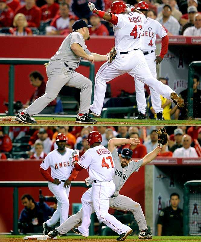 In Game 1 of the AL Division Series, the umpires incorrectly called Howie Kendrick safe at first base twice, much to the disbelief of Red Sox first baseman Kevin Youkilis. The Angels would win the game and sweep the series.