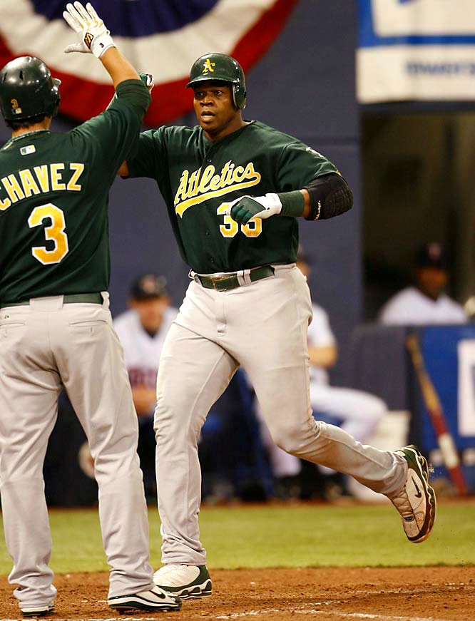 Frank Thomas powered the A's with two solo home runs in a 3-2 victory at the Metrodome. Thomas went deep in the second inning and again in the top of the ninth to provide what would be the game-winning run. Oakland went on to sweep Minnesota and advance to the ALCS.