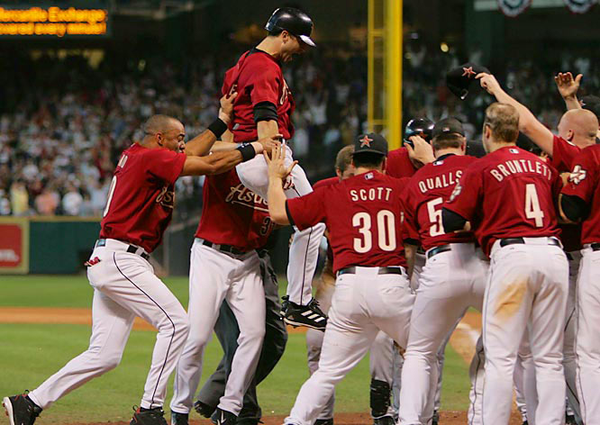 Chris Burke hit one of the most dramatic home runs in postseason history and ended an 18-inning thriller that featured 14 pitchers. Roger Clemens came out of the bullpen to pitch the last three innings in relief and set up Burke's game-winning shot off of Braves rookie Joey Devine that gave Houston a 7-6 win and clinched the series.